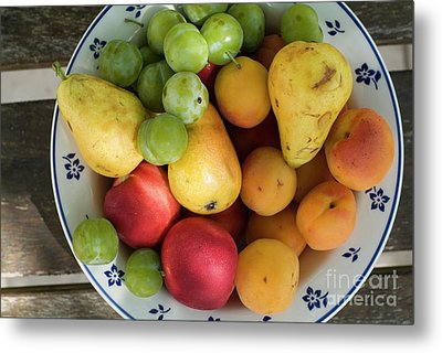 Variety Of Fresh Summer Fruit On A Plate Metal Print by Sami Sarkis