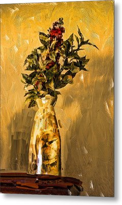 Metal Print featuring the digital art Vase And Flowers by Dale Stillman