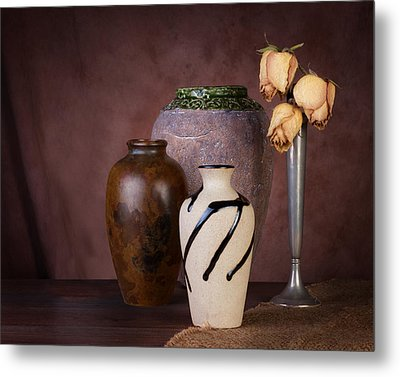 Vase And Roses Still Life Metal Print