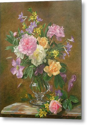 Vase Of Flowers Metal Print by Albert Williams