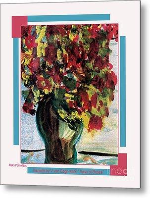 Vase Of Flowers Metal Print by Aleksandra Pomorisac