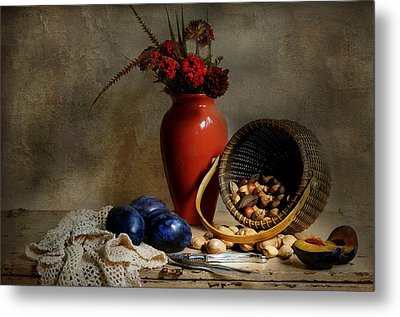 Vase With Basket Of Walnuts Metal Print by Diana Angstadt