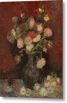 Vase With Chinese Asters And Gladioli Metal Print by Vincent van Gogh