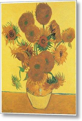 Vase With Fifteen Sunflowers Metal Print