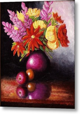 Metal Print featuring the painting Vase With Flowers by Gene Gregory
