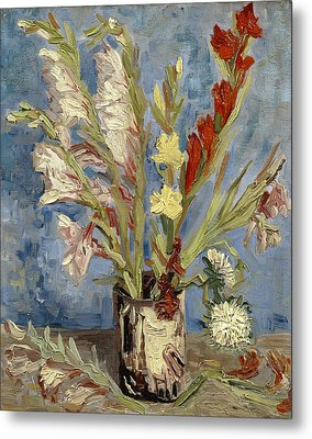 Vase With Gladioli And China Asters Metal Print by Vincent van Gogh
