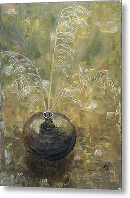Vase With Wheat. Metal Print by Mila Ryk