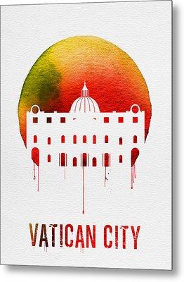 Vatican City Landmark Red Metal Print by Naxart Studio