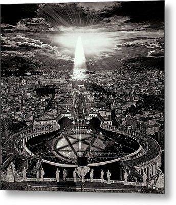 Vatican Rocking View Black And White Metal Print by Marian Voicu
