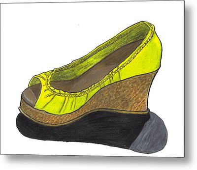 Metal Print featuring the drawing Vegas Shoes by Jean Haynes