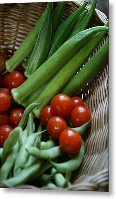 Vegetable Basket Metal Print by Karen Fowler