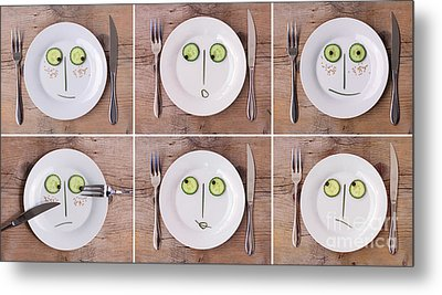Vegetable Faces Metal Print