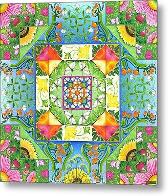 Vegetable Patchwork Metal Print by Isobel  Brook Haslam