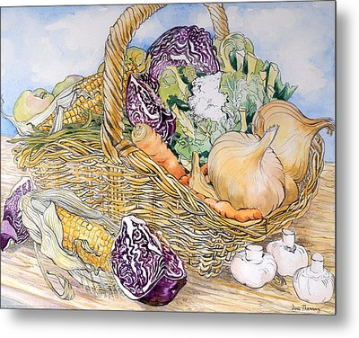 Vegetables In A Basket Metal Print by Joan Thewsey