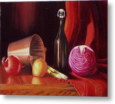 Metal Print featuring the painting Veggie Bucket. by Gene Gregory