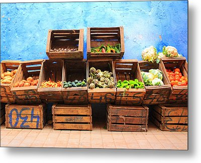 Metal Print featuring the photograph Veggies And The Blue Wall by Ramona Johnston