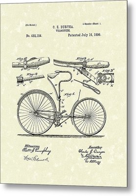 Velocipede 1890 Patent Art Metal Print