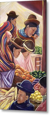 Vendors In La Paz Bolivia Metal Print by George Chacon