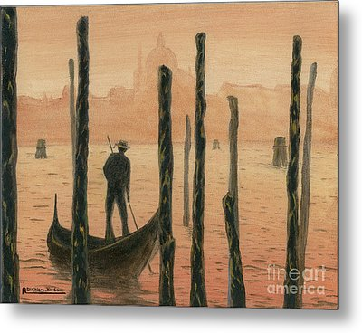 Venetian Gondolier In The Sunset Metal Print