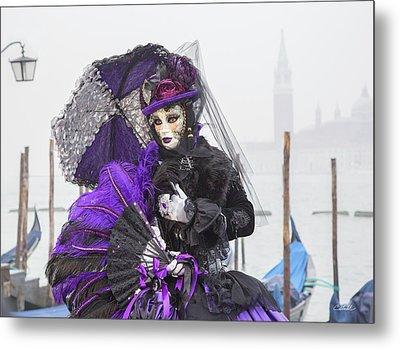 Venetian Lady In Purple Metal Print