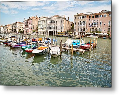 Metal Print featuring the photograph Venice Boats by Sharon Jones