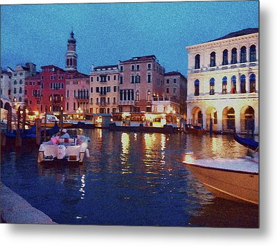 Metal Print featuring the photograph Venice By Night by Anne Kotan