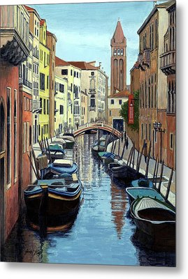 Venice Canal Reflections Metal Print by Janet King