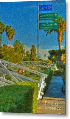 Metal Print featuring the photograph Venice Canal Bridge Signs by David Zanzinger