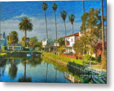 Venice Canal Houses Watercolor  Metal Print by David Zanzinger