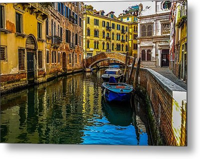 Venice Canal In Italy Metal Print by Marilyn Burton