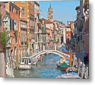 Venice Canaletto Bridging Metal Print by Heiko Koehrer-Wagner