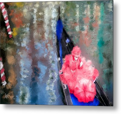 Metal Print featuring the photograph Venice Carnival. Masked Woman In A Gondola by Juan Carlos Ferro Duque