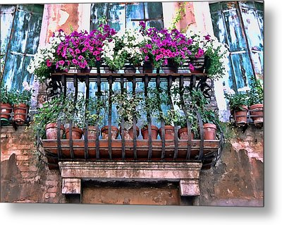 Metal Print featuring the photograph Venice Flower Balcony by Allen Beatty