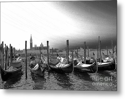 Metal Print featuring the photograph Venice Gondolas Black And White by Rebecca Margraf