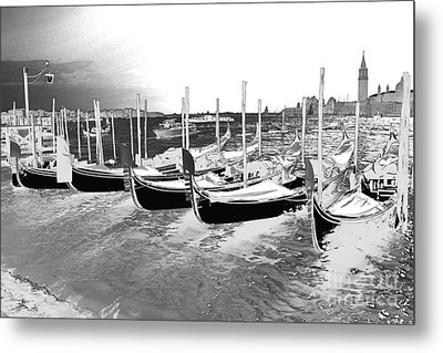 Metal Print featuring the photograph Venice Gondolas Silver by Rebecca Margraf