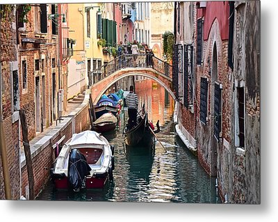 Venice Gondolier Metal Print by Frozen in Time Fine Art Photography