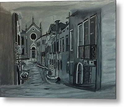 Metal Print featuring the painting Venice In Grey And White by Rod Jellison