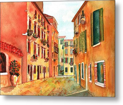 Venice Italy Street Metal Print by Sharon Mick