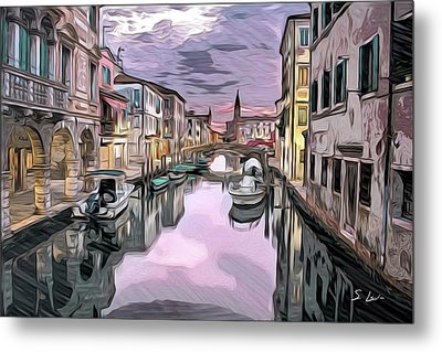 Venice Pastel Italian Cityscapes Art Metal Print by S Art