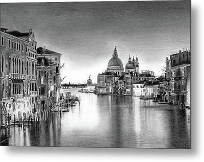 Venice Pencil Drawing Metal Print