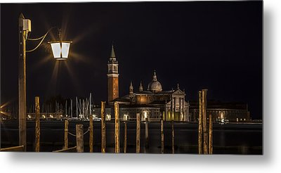Venice San Giorgio Maggiore At Night Panoramic View Metal Print by Melanie Viola