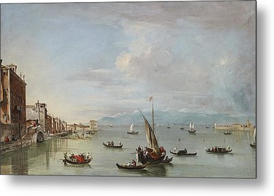 Venice  The Fondamenta Nuove With The Lagoon And The Island Of San Michele Metal Print by Francesco Guardi