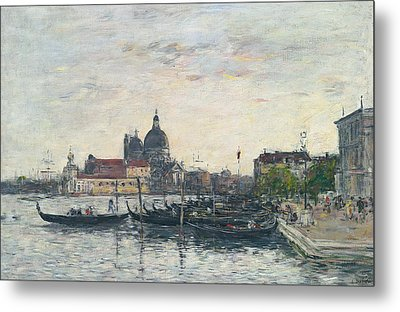 Venice, The Mole At The Entrance To The Grand Canal And The Salute, Evening Metal Print by Eugene Louis Boudin