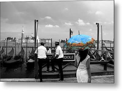 Metal Print featuring the photograph Venice Umbrella by Andrew Fare