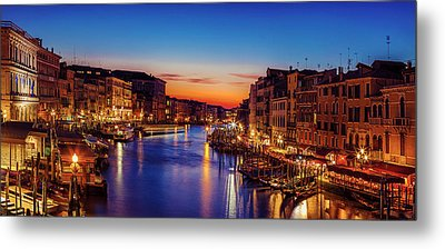 Venice View At Twilight Metal Print by Andrew Soundarajan