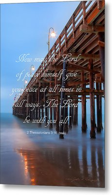 Metal Print featuring the photograph Ventura Ca Pier With Bible Verse by John A Rodriguez