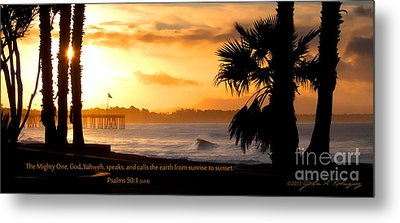Metal Print featuring the photograph Ventura California Sunrise With Bible Verse by John A Rodriguez