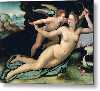 Venus And Cupid Metal Print by Alessandro Allori