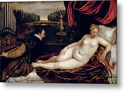 Venus And The Organist Metal Print by Titian