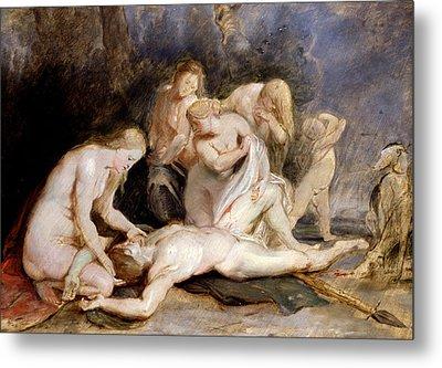 Venus Mourning Adonis Metal Print by Peter Paul Rubens